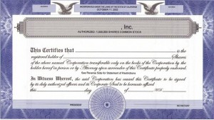 Sample certificate showing number of shares owned by a corporation's shareholder