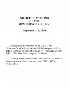 Sample LLC Notice of Meeting of Members