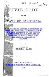 Title page from the California Civil Code enacted in 1872 for a post about the potential effect of Civil Code Section 1542 on a contractual release