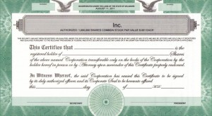 Sample Share Certificate to illustrate printing legends on share certificates