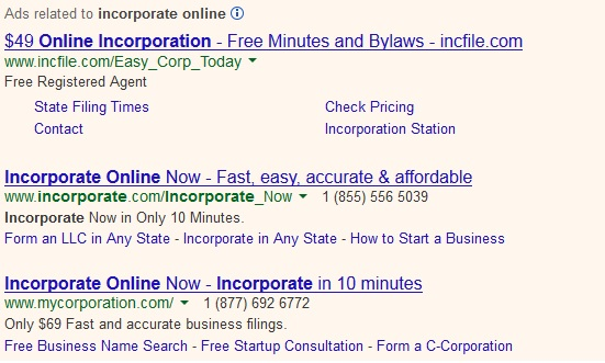 "Ads for ""incorporate online"""