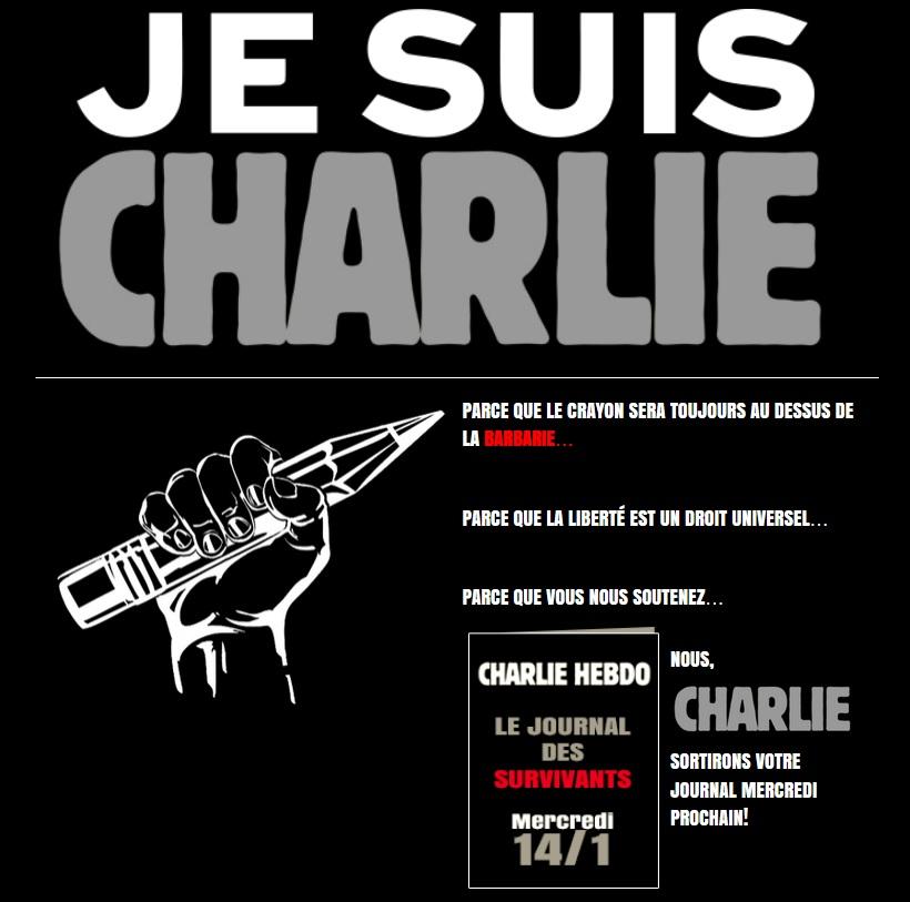 """""""Je Suis Charlie"""" at top of Charlie Hebdo homepage"""