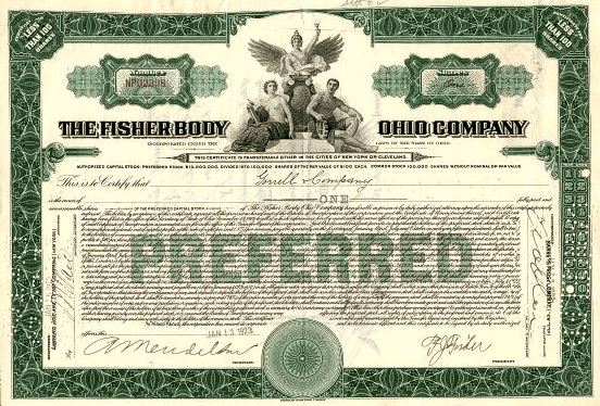 Certificate for preferred shares